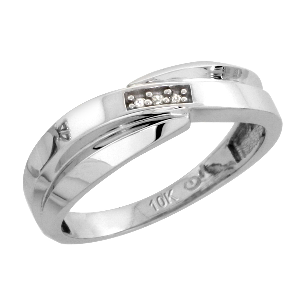 10k White Gold Ladies Diamond Wedding Band Ring 0.02 cttw Brilliant Cut, 1/4 inch 6mm wide