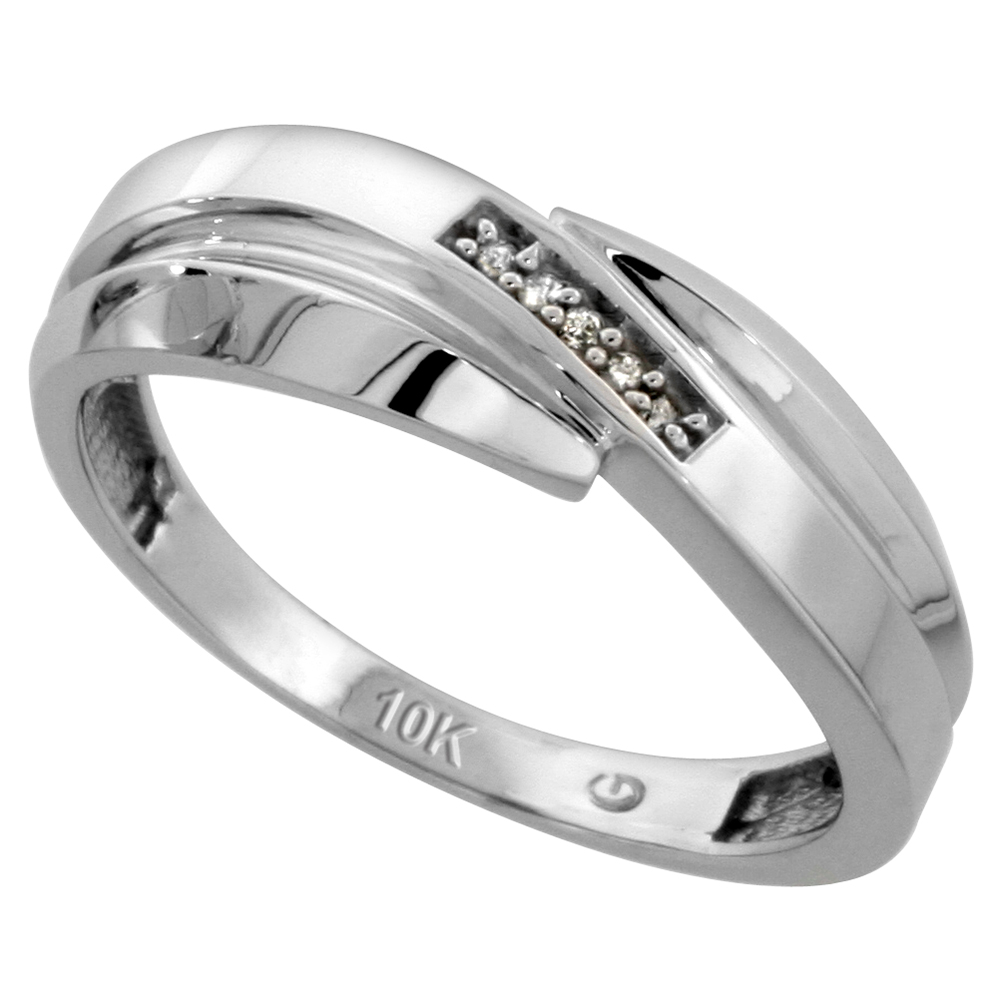 10k White Gold Mens Diamond Wedding Band Ring 0.03 cttw Brilliant Cut, 9/32 inch 7mm wide