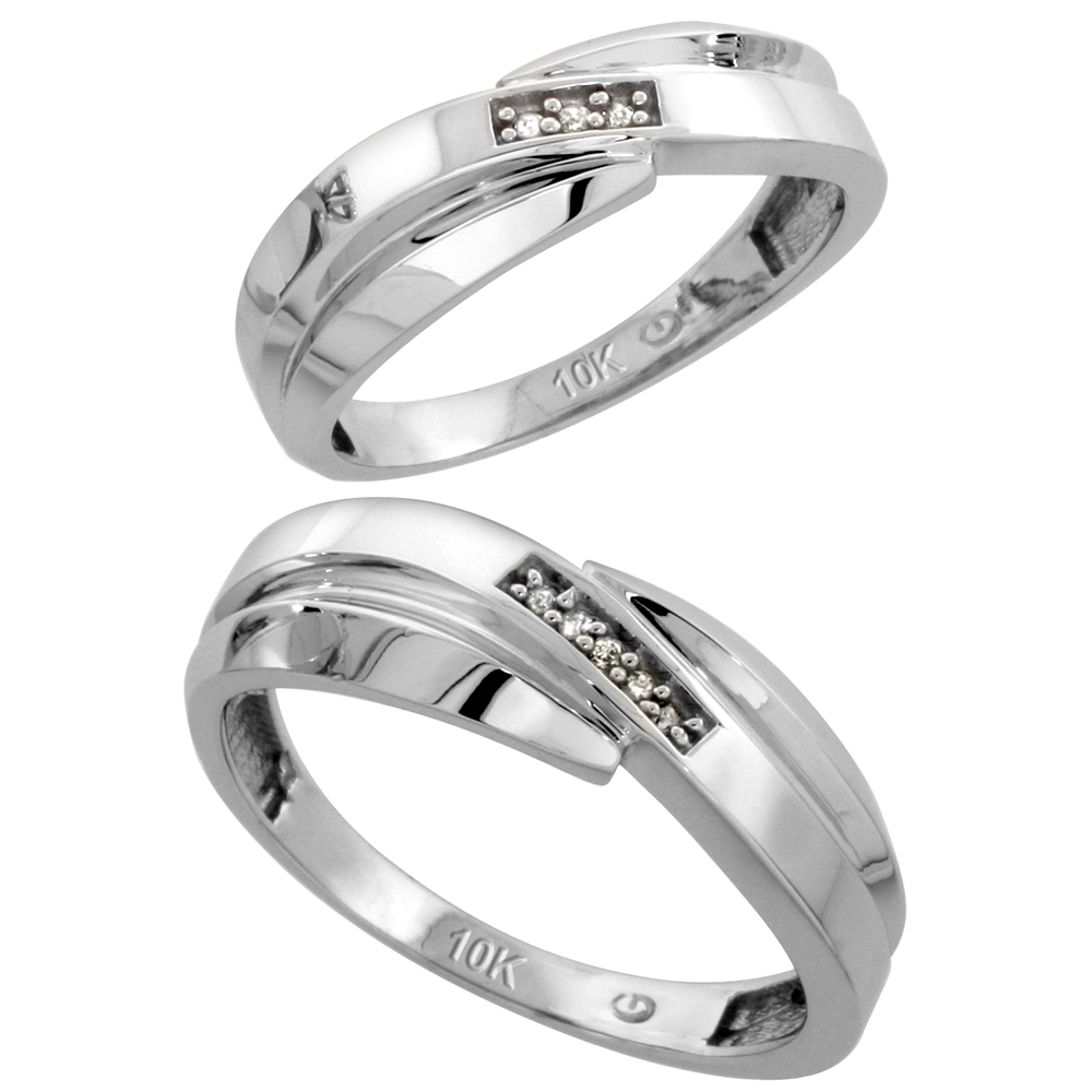 10k White Gold Diamond Wedding Rings Set for him 7 mm and her 6 mm 2-Piece 0.05 cttw Brilliant Cut, ladies sizes 5 � 10, mens sizes 8 - 14