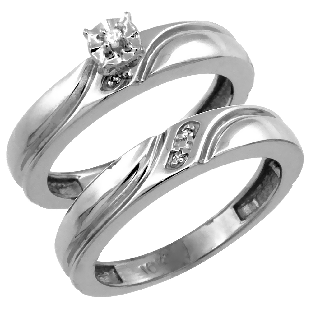 14k White Gold 2-Pc Diamond Engagement Ring Set w/ 0.043 Carat Brilliant Cut Diamonds, 5/32 in. (4mm) wide