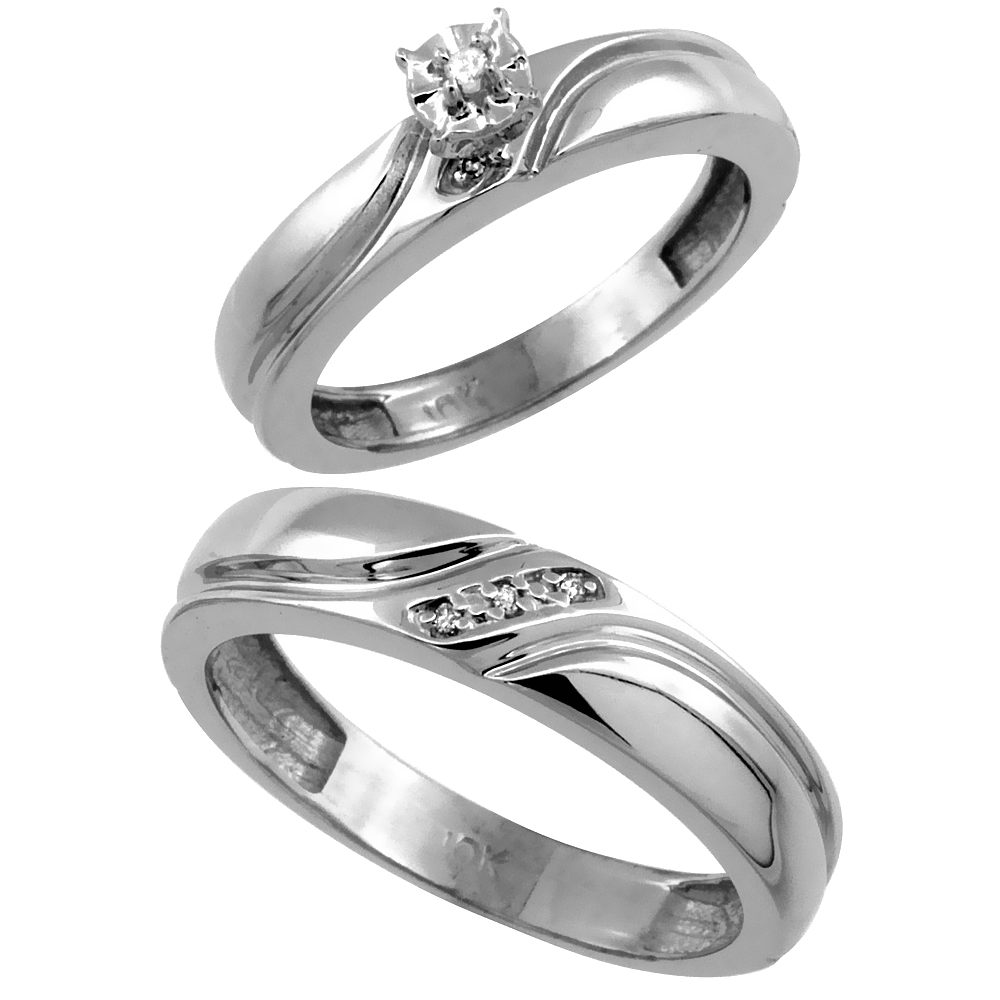 14k White Gold 2-Pc Diamond Ring Set (4mm Engagement Ring & 5mm Man's Wedding Band), w/ 0.049 Carat Brilliant Cut Diamonds
