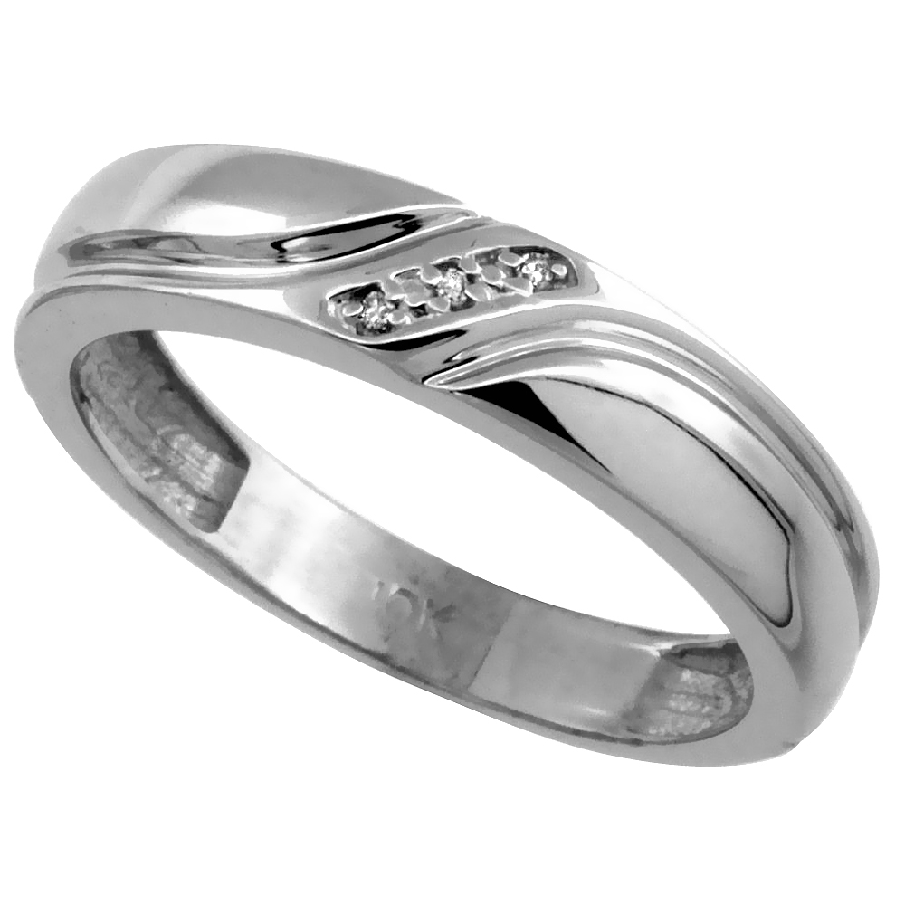 14k White Gold Men's Diamond Wedding Ring Band, w/ 0.019 Carat Brilliant Cut Diamonds, 3/16 in. (5mm) wide