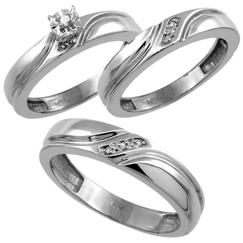 14k White Gold 3-Pc. Trio His (5mm) & Hers (4mm) Diamond Wedding Ring Band Set, w/ 0.062 Carat Brilliant Cut Diamonds (Ladies' Sizes 5-10; Men's Sizes 8 to 14)