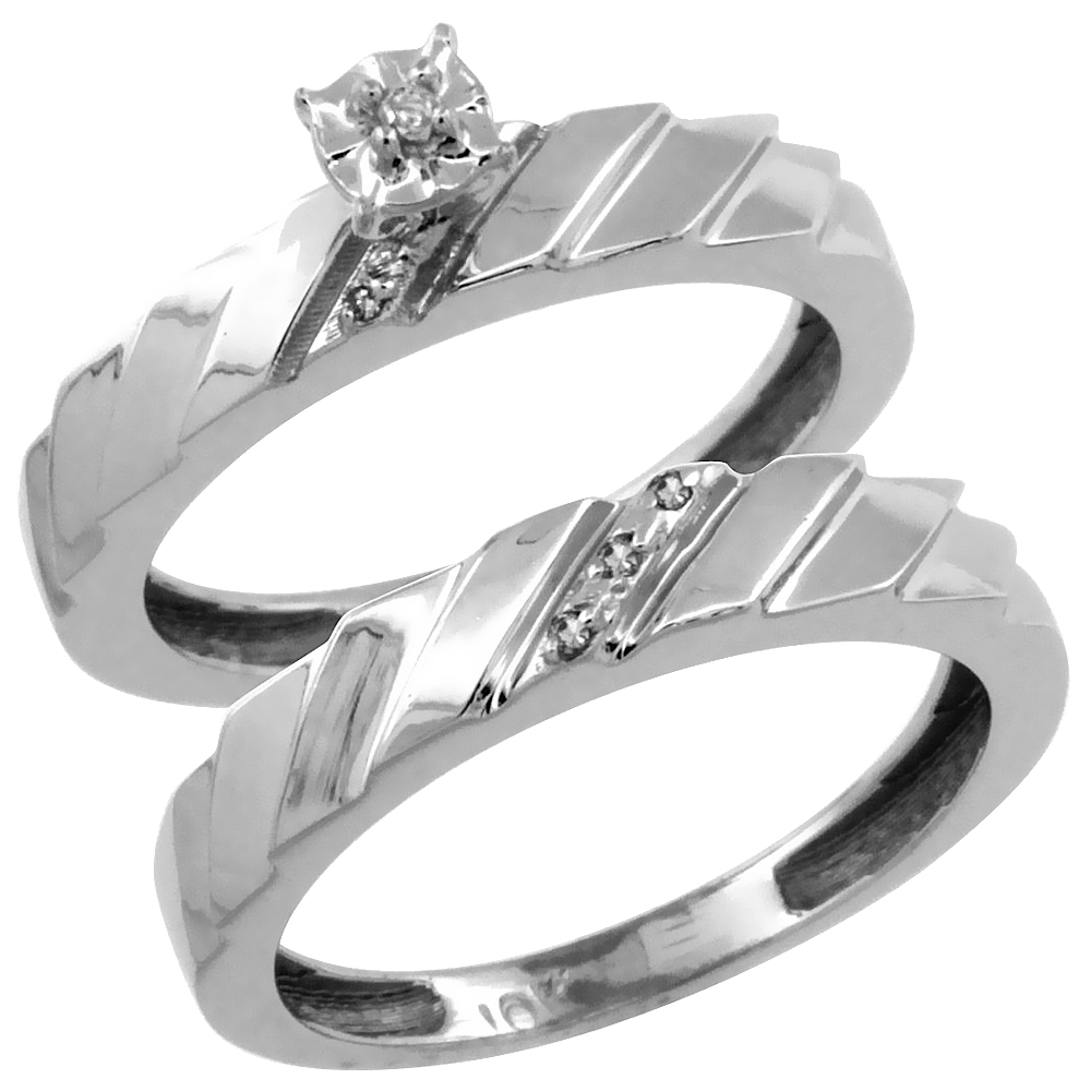 14k White Gold 2-Pc Diamond Engagement Ring Set w/ 0.049 Carat Brilliant Cut Diamonds, 5/32 in. (4mm) wide