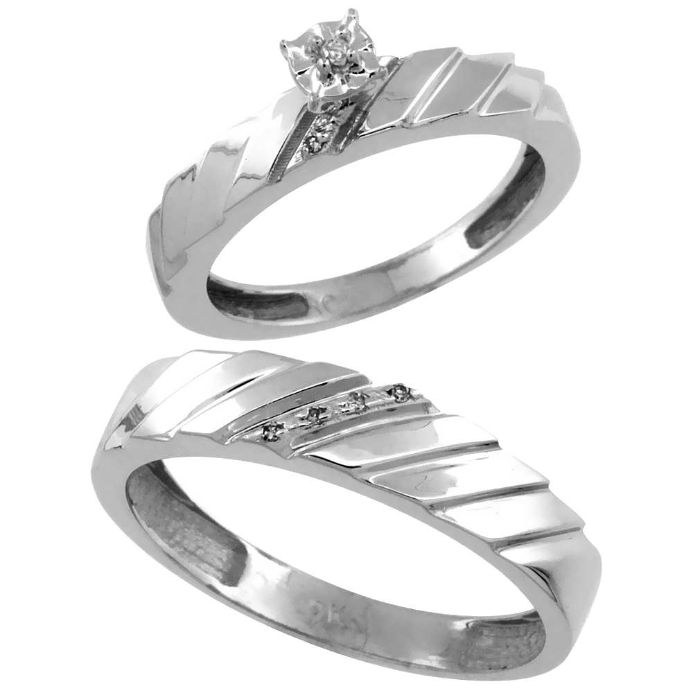 14k White Gold 2-Pc Diamond Ring Set (4mm Engagement Ring & 5mm Man's Wedding Band), w/ 0.056 Carat Brilliant Cut Diamonds