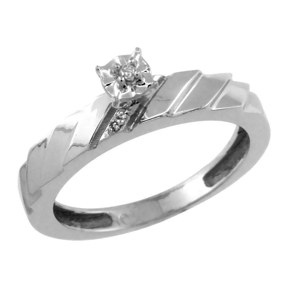 14k White Gold Diamond Engagement Ring w/ 0.03 Carat Brilliant Cut Diamonds, 5/32 in. (4mm) wide
