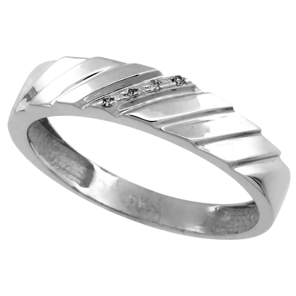 14k White Gold Men's Diamond Wedding Ring Band, w/ 0.026 Carat Brilliant Cut Diamonds, 3/16 in. (5mm) wide