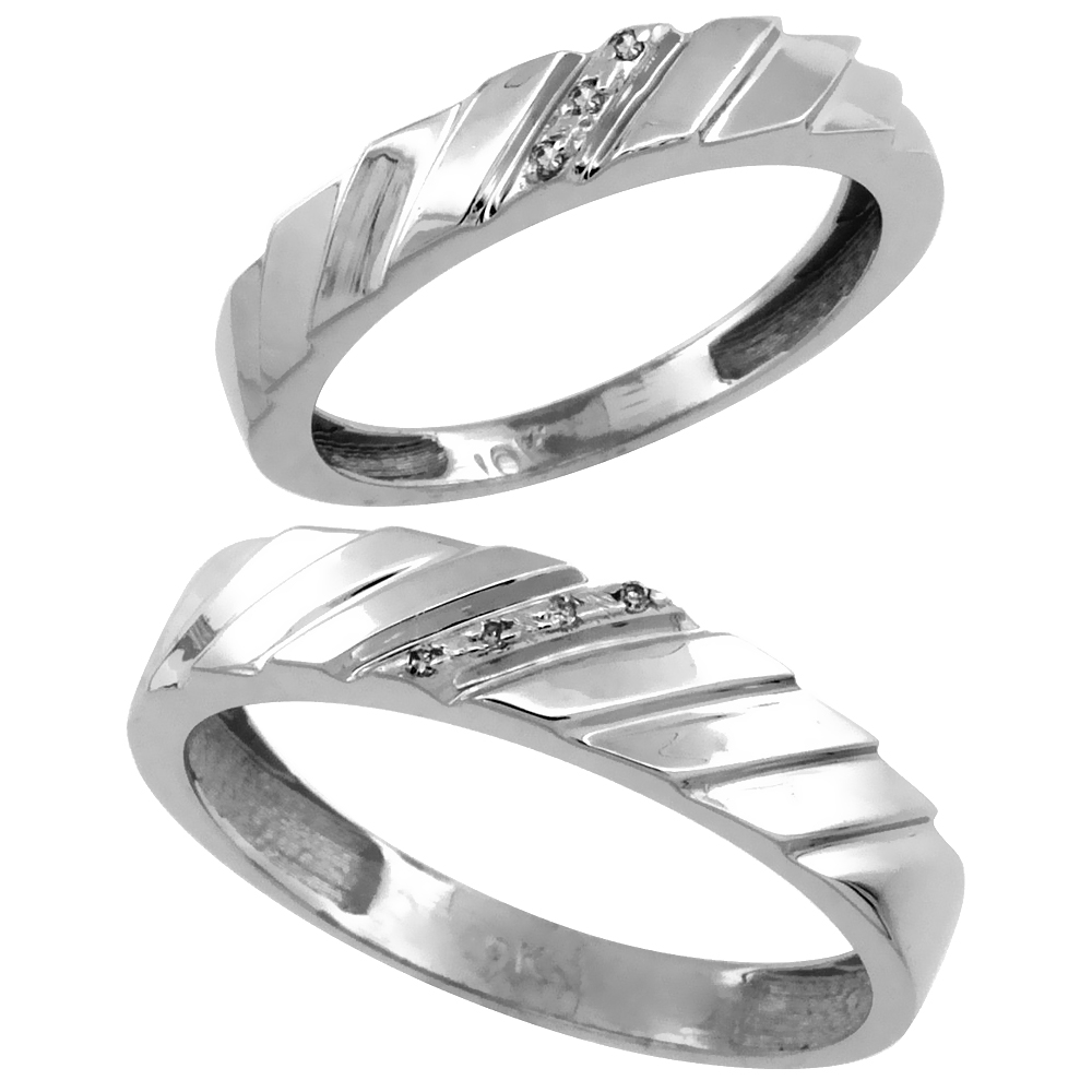 14k White Gold 2-Pc His (5mm) & Hers (4mm) Diamond Wedding Ring Band Set w/ 0.045 Carat Brilliant Cut Diamonds (Ladies' Sizes 5 to 10; Men's Sizes 8 to 14)