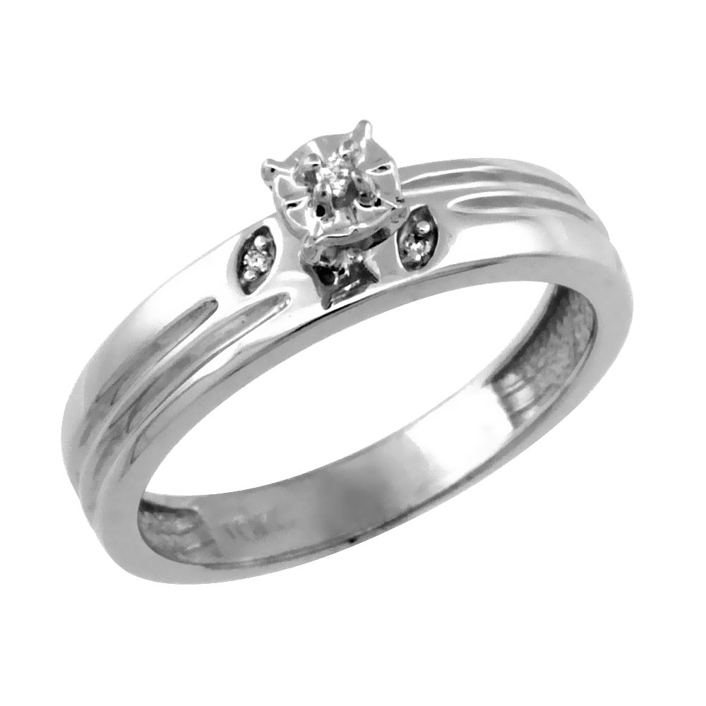14k White Gold Diamond Engagement Ring w/ 0.03 Carat Brilliant Cut Diamonds, 5/32 in. (4.5mm) wide