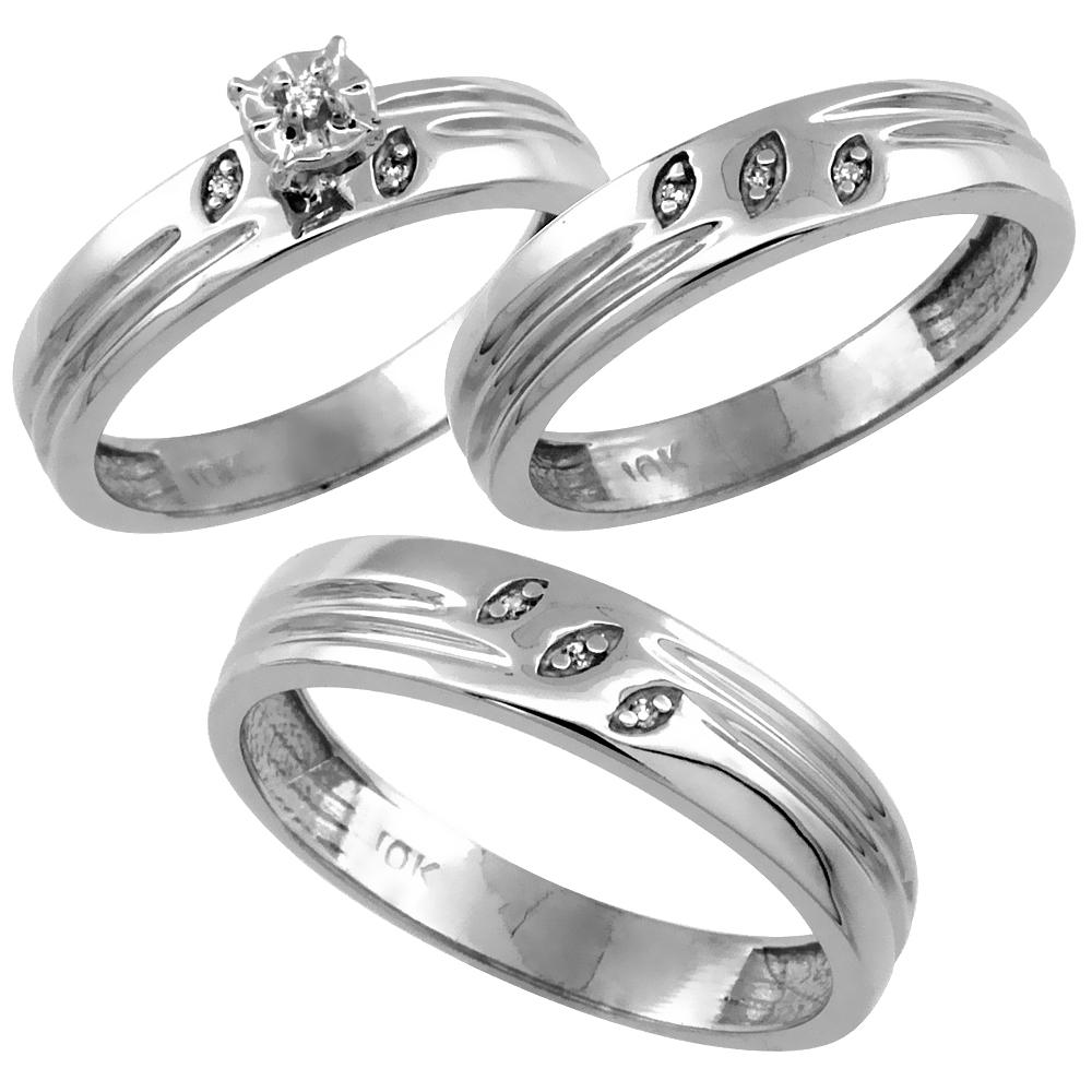 14k White Gold 3-Pc. Trio His (5mm) & Hers (4.5mm) Diamond Wedding Ring Band Set, w/ 0.075 Carat Brilliant Cut Diamonds (Ladies' Sizes 5-10; Men's Sizes 8 to 14)