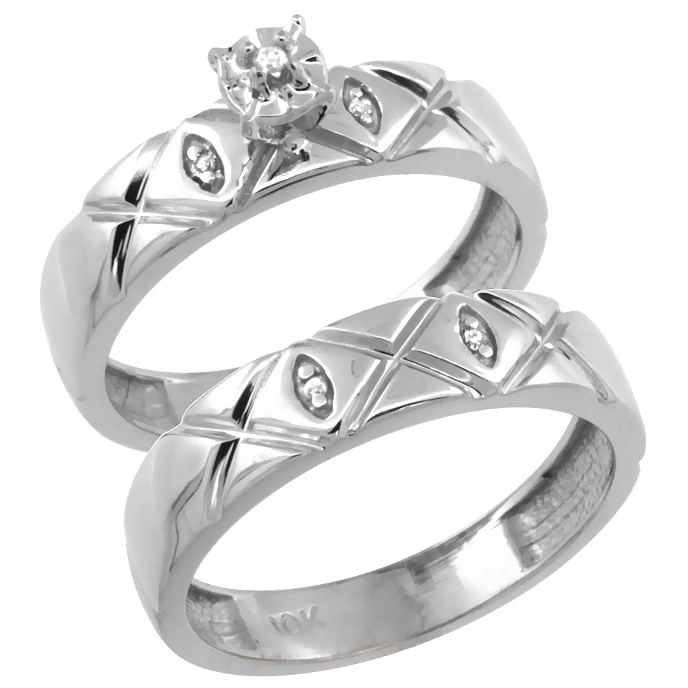 14k White Gold 2-Pc Diamond Engagement Ring Set w/ 0.043 Carat Brilliant Cut Diamonds, 5/32 in. (4.5mm) wide