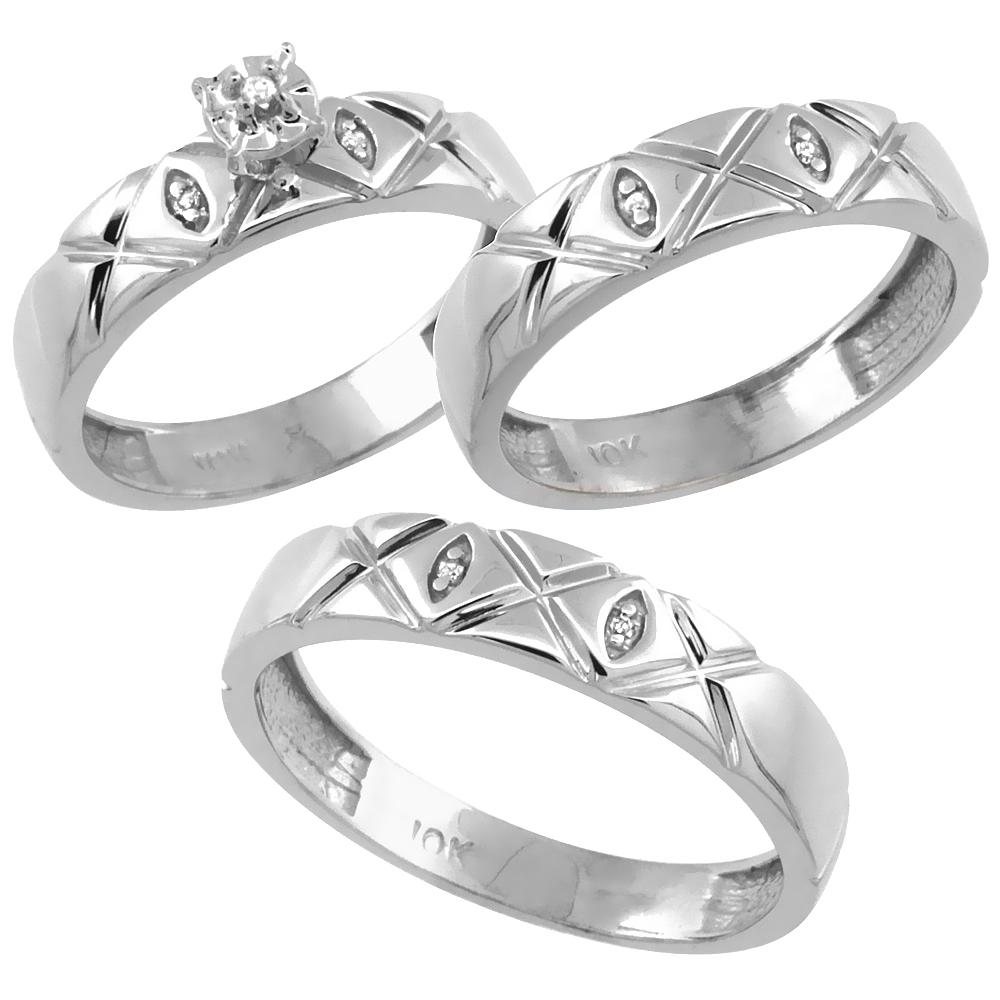 14k White Gold 3-Pc. Trio His (5mm) & Hers (4.5mm) Diamond Wedding Ring Band Set, w/ 0.056 Carat Brilliant Cut Diamonds (Ladies' Sizes 5-10; Men's Sizes 8 to 14)