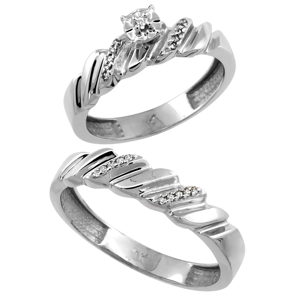 14k White Gold 2-Pc Diamond Ring Set (5mm Engagement Ring & 5mm Man's Wedding Band), w/ 0.143 Carat Brilliant Cut Diamonds