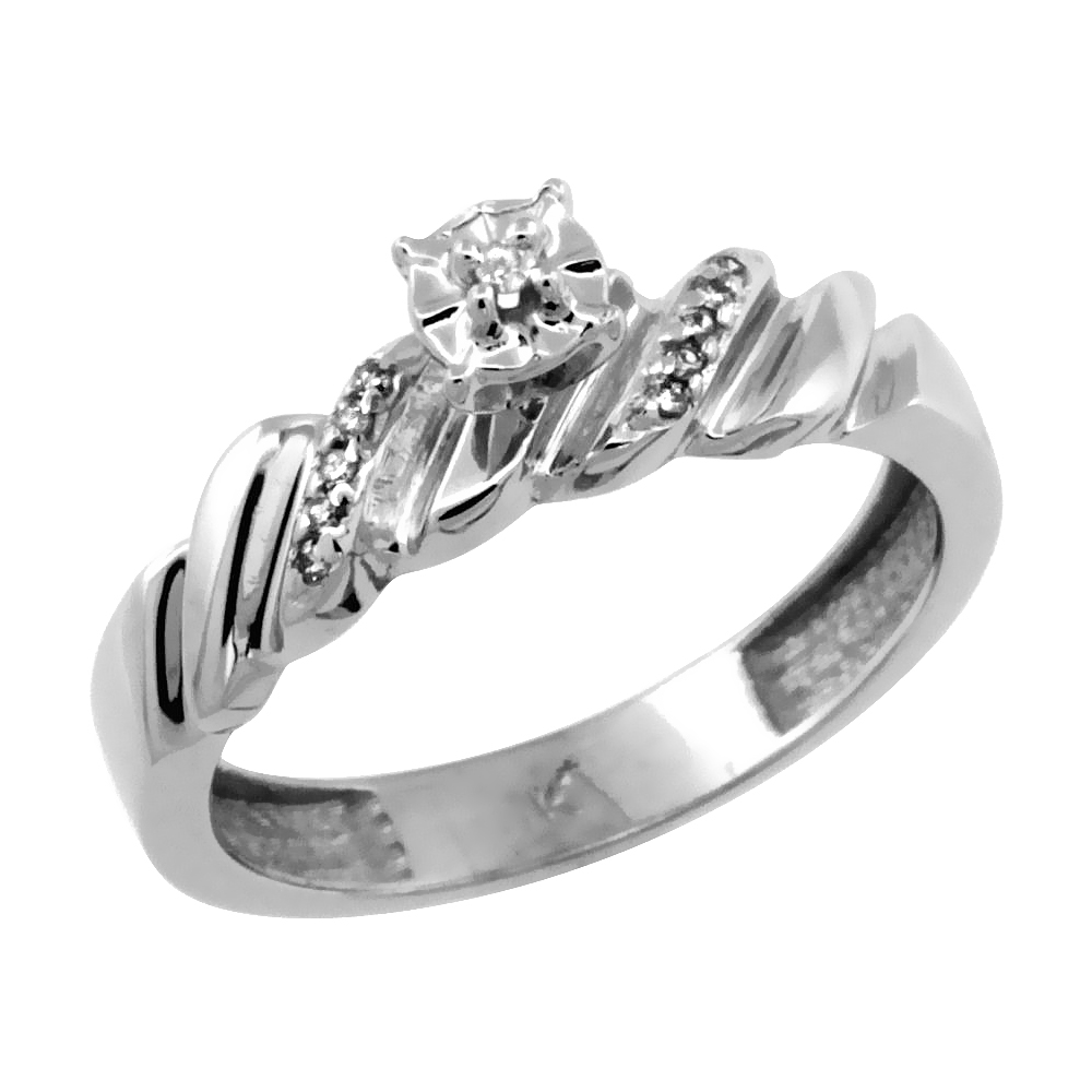 14k White Gold Diamond Engagement Ring w/ 0.08 Carat Brilliant Cut Diamonds, 5/32 in. (5mm) wide