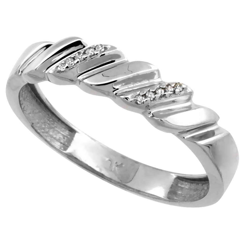 14k White Gold Men's Diamond Wedding Ring Band, w/ 0.063 Carat Brilliant Cut Diamonds, 3/16 in. (5mm) wide