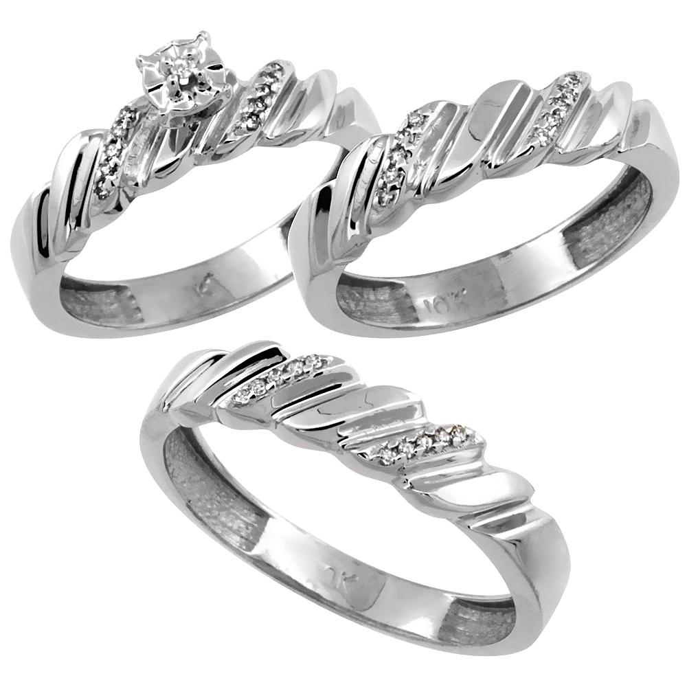 14k White Gold 3-Pc. Trio His (5mm) & Hers (5mm) Diamond Wedding Ring Band Set, w/ 0.20 Carat Brilliant Cut Diamonds (Ladies' Sizes 5-10; Men's Sizes 8 to 14)