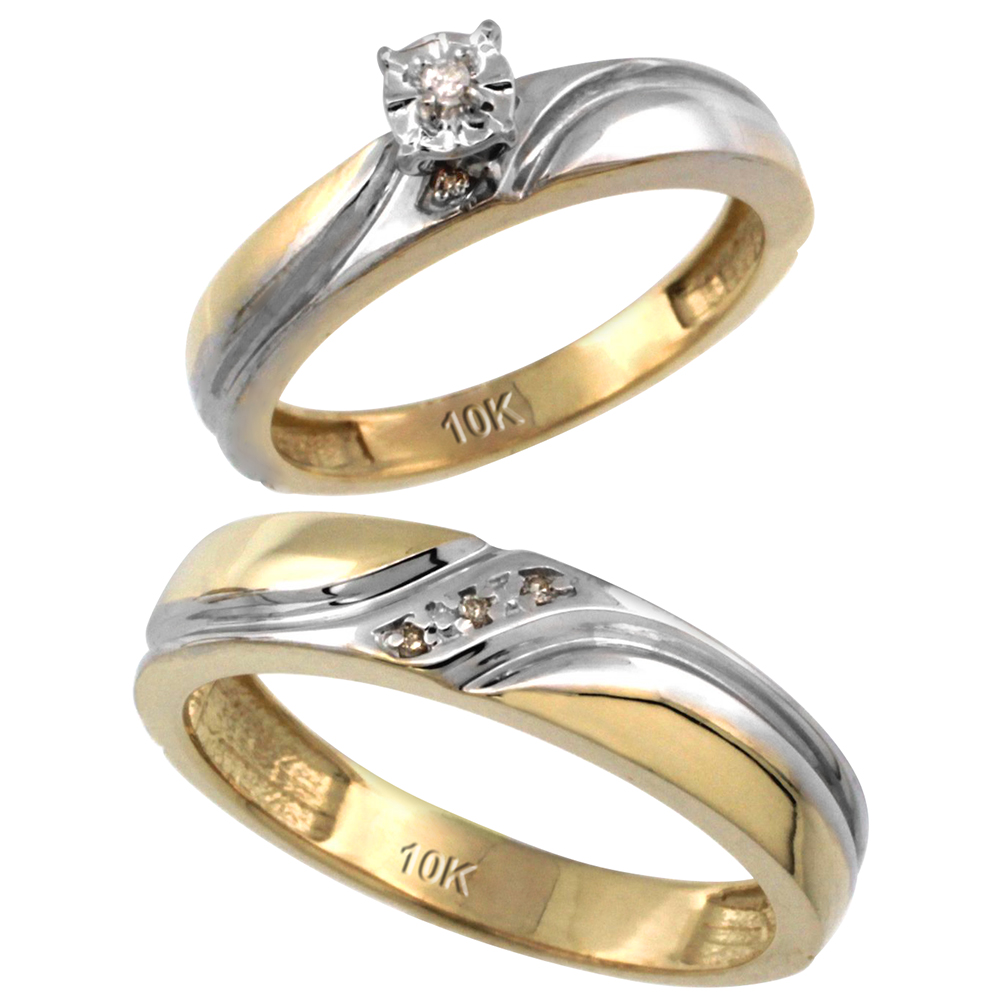 14k Gold 2-Pc Diamond Ring Set (4mm Engagement Ring & 5mm Man's Wedding Band), w/ 0.049 Carat Brilliant Cut Diamonds