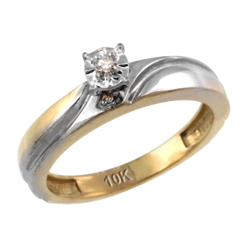 14k Gold Diamond Engagement Ring w/ 0.03 Carat Brilliant Cut Diamonds, 5/32 in. (4mm) wide