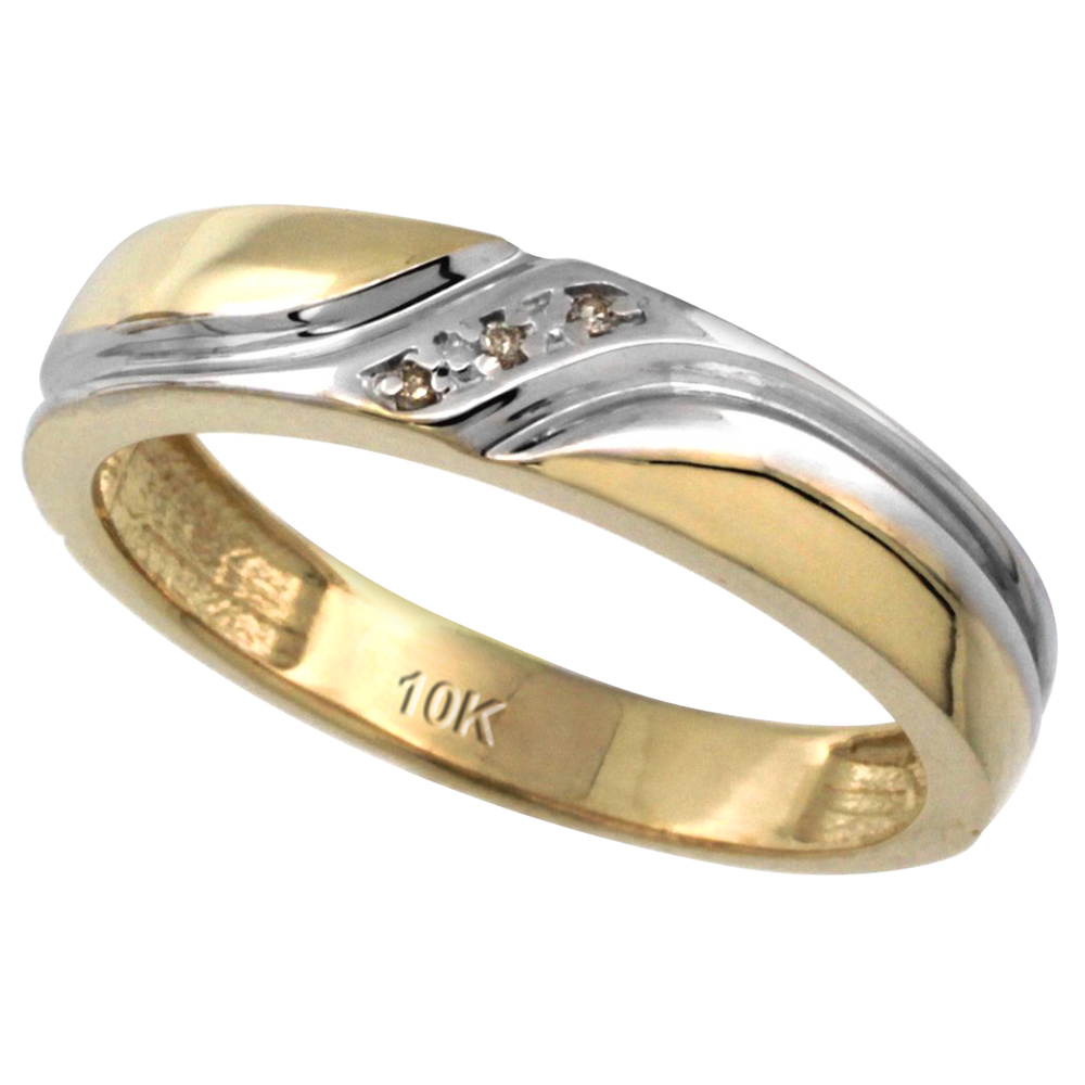 14k Gold Men's Diamond Wedding Ring Band, w/ 0.019 Carat Brilliant Cut Diamonds, 3/16 in. (5mm) wide
