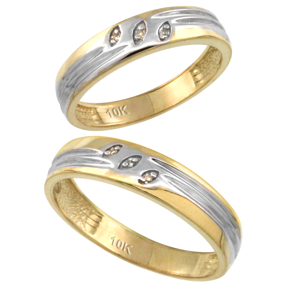 14k Gold 2-Pc His (5mm) & Hers (4.5mm) Diamond Wedding Ring Band Set w/ 0.045 Carat Brilliant Cut Diamonds (Ladies' Sizes 5 to 10; Men's Sizes 8 to 14)