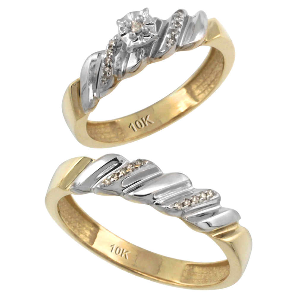 14k Gold 2-Pc Diamond Ring Set (5mm Engagement Ring & 5mm Man's Wedding Band), w/ 0.143 Carat Brilliant Cut Diamonds
