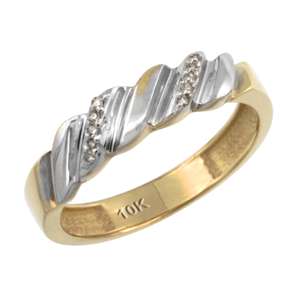 14k Gold Ladies' Diamond Wedding Ring Band, w/ 0.063 Carat Brilliant Cut Diamonds, 5/32 in. (5mm) wide