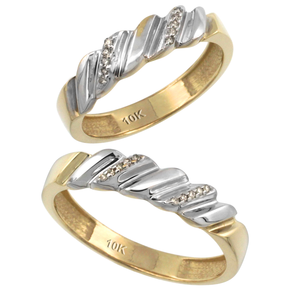 14k Gold 2-Pc His (5mm) & Hers (5mm) Diamond Wedding Ring Band Set w/ 0.126 Carat Brilliant Cut Diamonds (Ladies' Sizes 5 to 10; Men's Sizes 8 to 14)