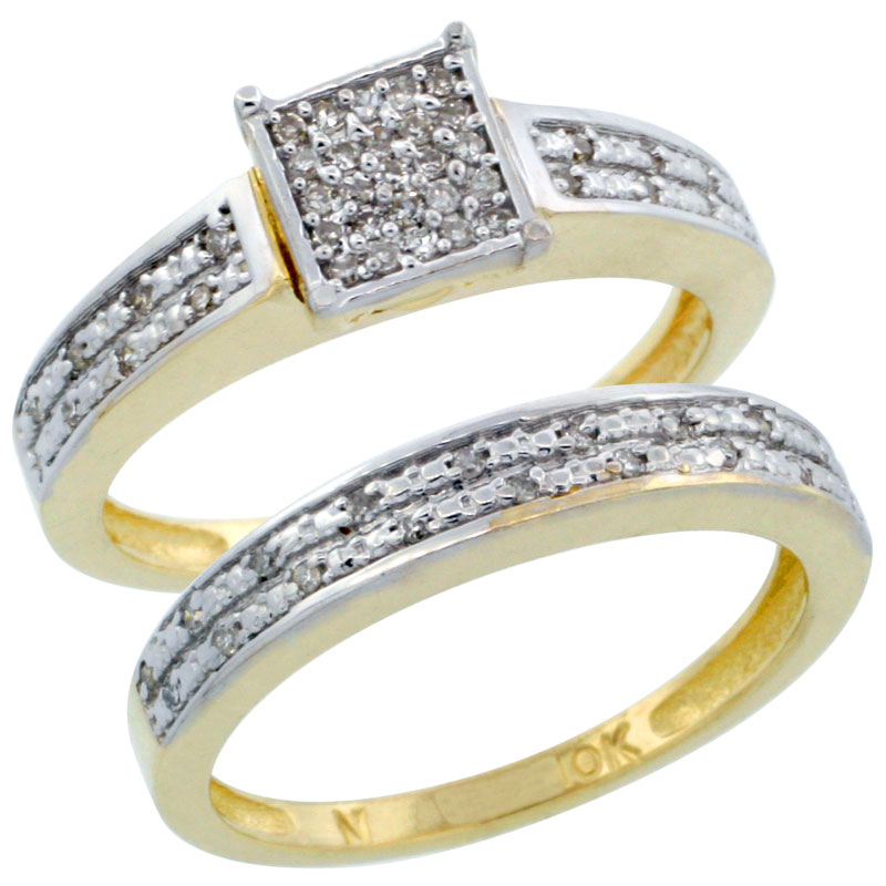 14k Gold 2-Piece Diamond Engagement Ring Band Set w/ 0.21 Carat Brilliant Cut Diamonds, 1/8 in. (3.5mm) wide
