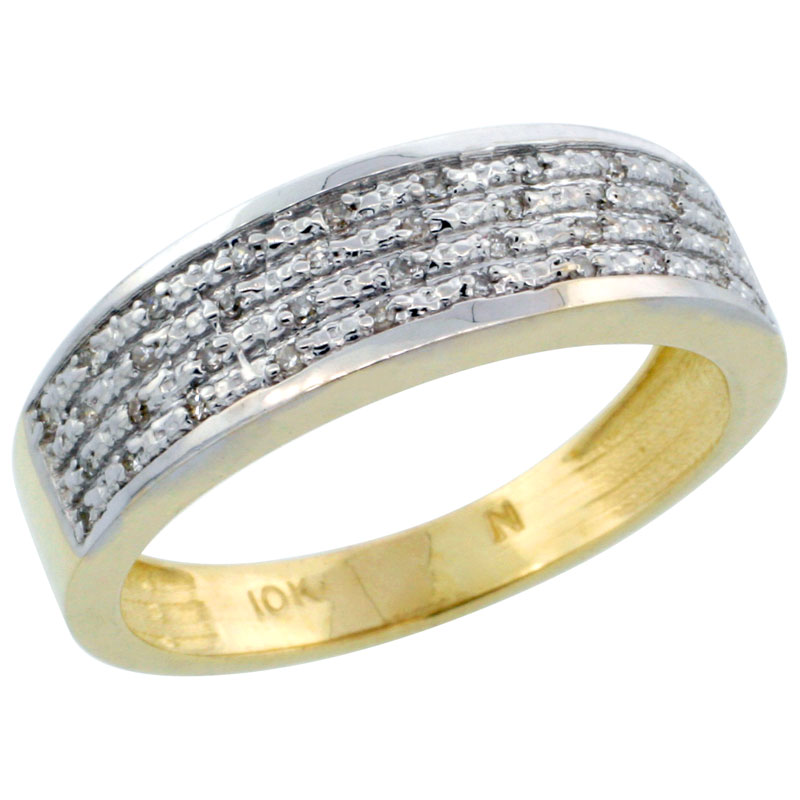 14k Gold Men's Diamond Ring Band w/ 0.12 Carat Brilliant Cut Diamonds, 1/4 in. (6.5mm) wide
