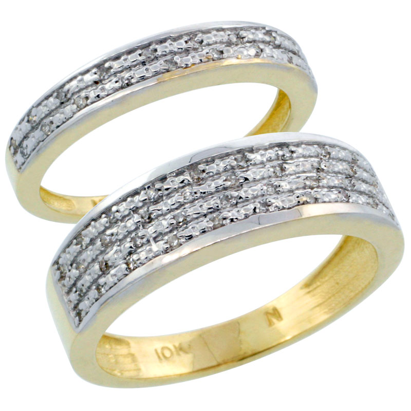 14k Gold 2-Piece His (6.5mm) & Hers (3.5mm) Diamond Wedding Ring Band Set w/ 0.18 Carat Brilliant Cut Diamonds; (Ladies Size 5 to10; Men's Size 8 to 14)