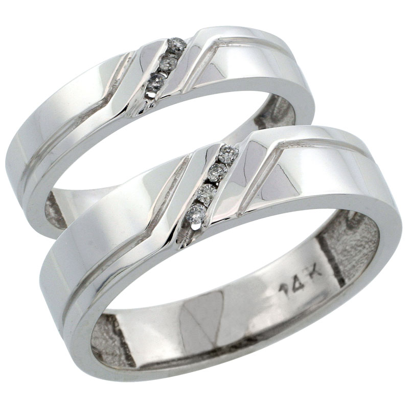 14k White Gold 2-Piece His (5mm) & Hers (4mm) Diamond Wedding Ring Band Set w/ 0.09 Carat Brilliant Cut Diamonds; (Ladies Size 5 to10; Men's Size 8 to 14)