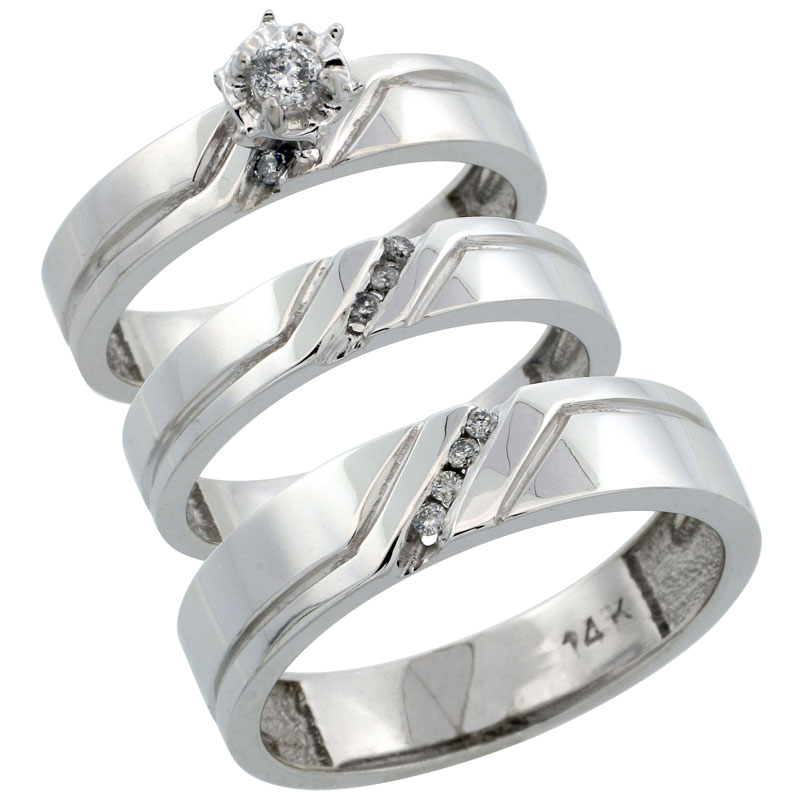 14k White Gold 3-Piece Trio His (5mm) & Hers (4mm) Diamond Wedding Ring Band Set w/ 0.19 Carat Brilliant Cut Diamonds; (Ladies Size 5 to10; Men's Size 8 to 14)