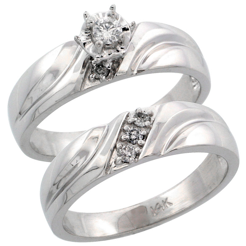 14k White Gold 2-Piece Diamond Engagement Ring Band Set w/ 0.17 Carat Brilliant Cut Diamonds, 3/16 in. (5mm) wide