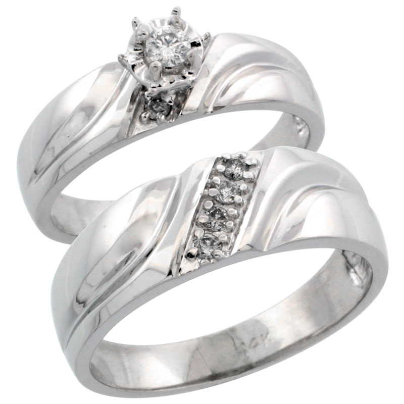 14k White Gold 2-Piece Diamond Ring Band Set w/ Rhodium Accent ( Engagement Ring & Man's Wedding Band ), w/ 0.20 Carat Brilliant Cut Diamonds, ( 5mm; 7mm ) wide