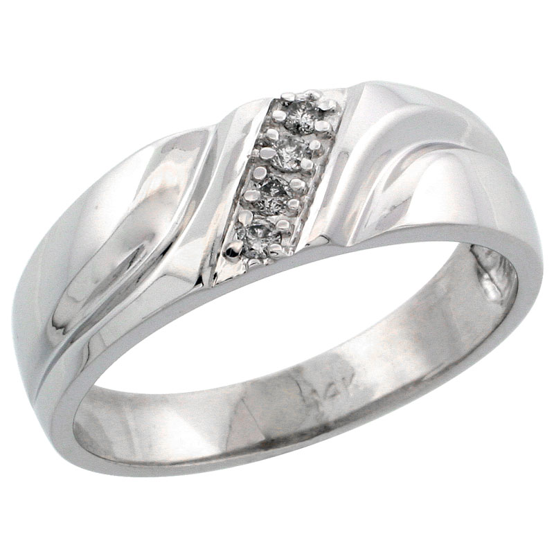 14k White Gold Men's Diamond Ring Band w/ 0.09 Carat Brilliant Cut Diamonds, 9/32 in. (7mm) wide