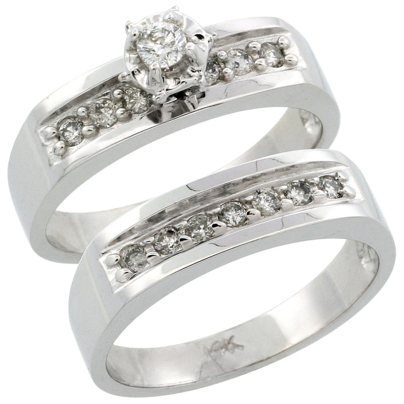14k White Gold 2-Piece Diamond Engagement Ring Band Set w/ 0.35 Carat Brilliant Cut Diamonds, 3/16 in. (5mm) wide
