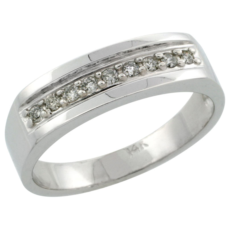 14k White Gold Men's Diamond Ring Band w/ 0.19 Carat Brilliant Cut Diamonds, 1/4 in. (6mm) wide