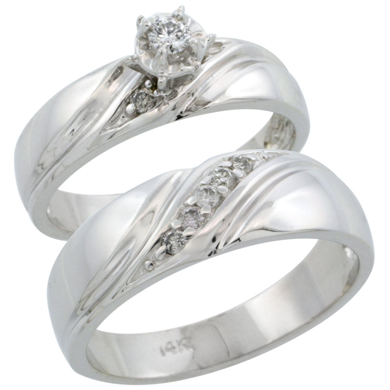 14k White Gold 2-Piece Diamond Ring Band Set w/ Rhodium Accent ( Engagement Ring & Man's Wedding Band ), w/ 0.21 Carat Brilliant Cut Diamonds, ( 5mm; 7mm ) wide