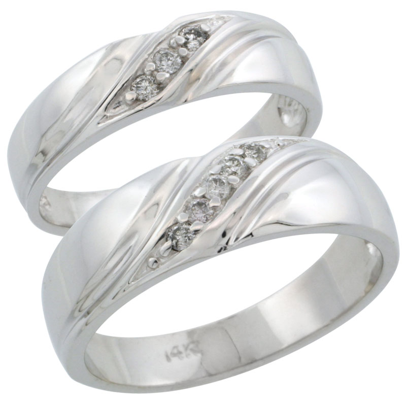 14k White Gold 2-Piece His (7mm) & Hers (5mm) Diamond Wedding Ring Band Set w/ 0.16 Carat Brilliant Cut Diamonds; (Ladies Size 5 to10; Men's Size 8 to 14)