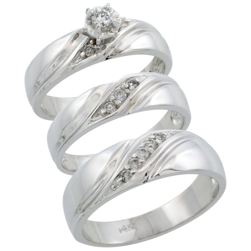 14k White Gold 3-Piece Trio His (7mm) & Hers (5mm) Diamond Wedding Ring Band Set w/ 0.27 Carat Brilliant Cut Diamonds; (Ladies Size 5 to10; Men's Size 8 to 14)