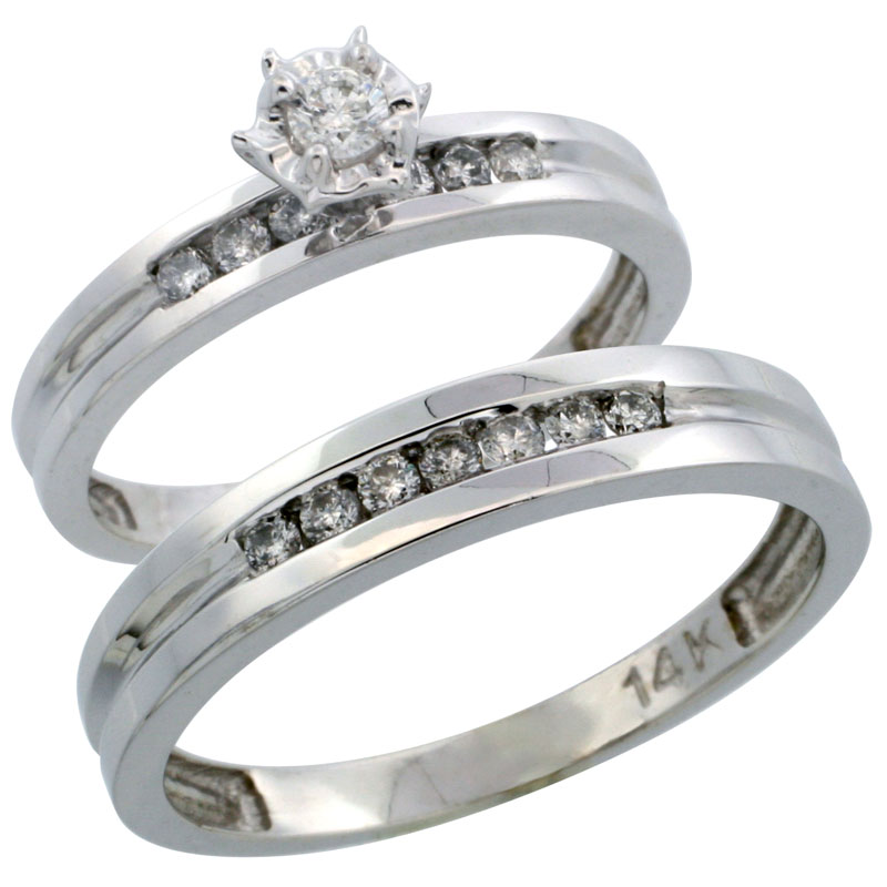 14k White Gold 2-Piece Diamond Ring Band Set w/ Rhodium Accent ( Engagement Ring & Man's Wedding Band ), w/ 0.35 Carat Brilliant Cut Diamonds, ( 3mm; 4mm ) wide