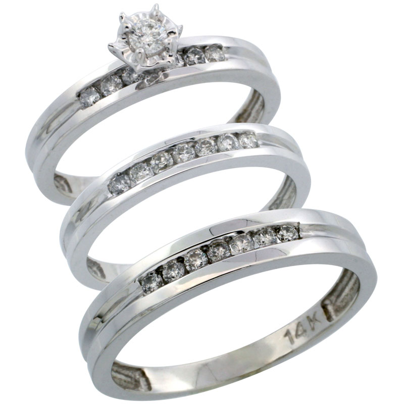 14k White Gold 3-Piece Trio His (4mm) & Hers (3mm) Diamond Wedding Ring Band Set w/ 0.50 Carat Brilliant Cut Diamonds; (Ladies Size 5 to10; Men's Size 8 to 14)