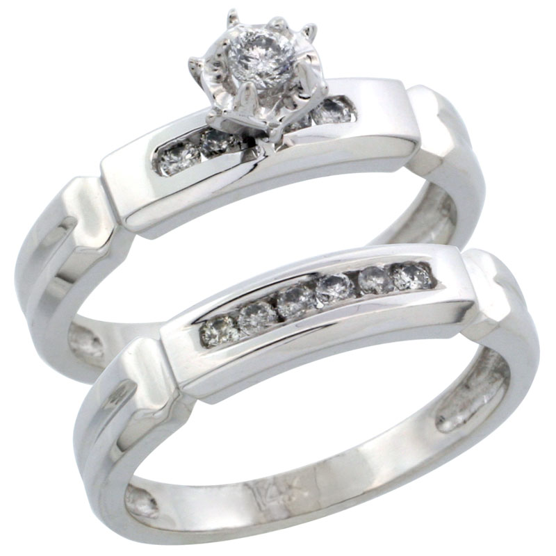 14k White Gold 2-Piece Diamond Engagement Ring Band Set w/ 0.24 Carat Brilliant Cut Diamonds, 5/32 in. (4mm) wide