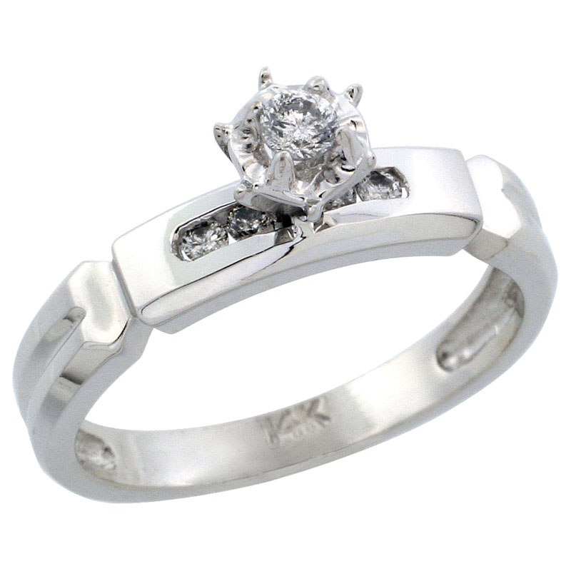 14k White Gold Diamond Engagement Ring w/ 0.14 Carat Brilliant Cut Diamonds, 5/32 in. (4mm) wide