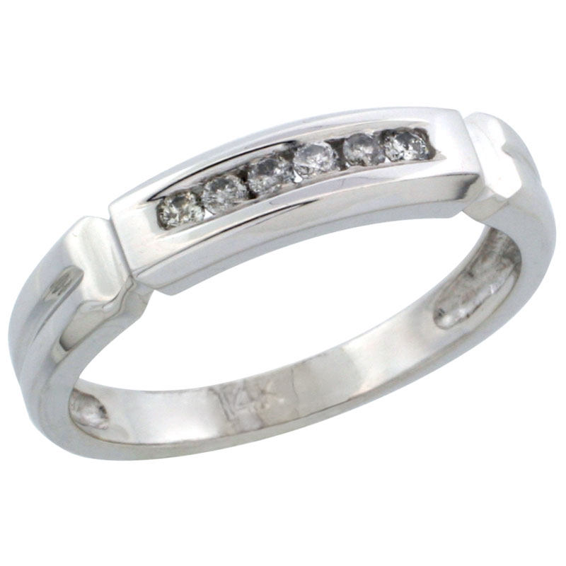 14k White Gold Ladies' Diamond Ring Band w/ 0.10 Carat Brilliant Cut Diamonds, 5/32 in. (4mm) wide