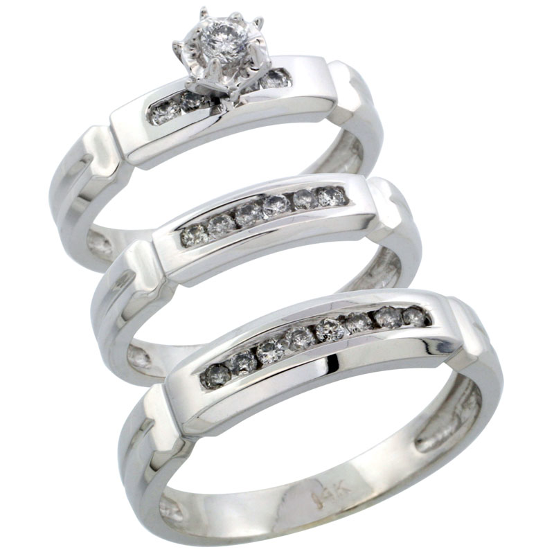 14k White Gold 3-Piece Trio His (5mm) & Hers (4mm) Diamond Wedding Ring Band Set w/ 0.38 Carat Brilliant Cut Diamonds; (Ladies Size 5 to10; Men's Size 8 to 14)