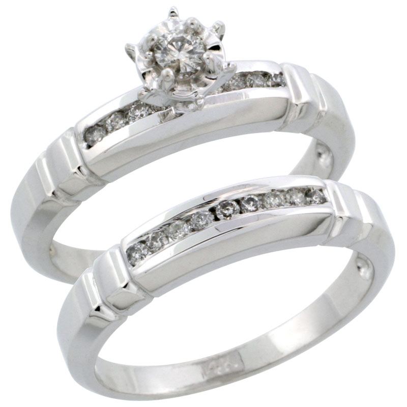 14k White Gold 2-Piece Diamond Engagement Ring Band Set w/ 0.25 Carat Brilliant Cut Diamonds, 5/32 in. (4mm) wide