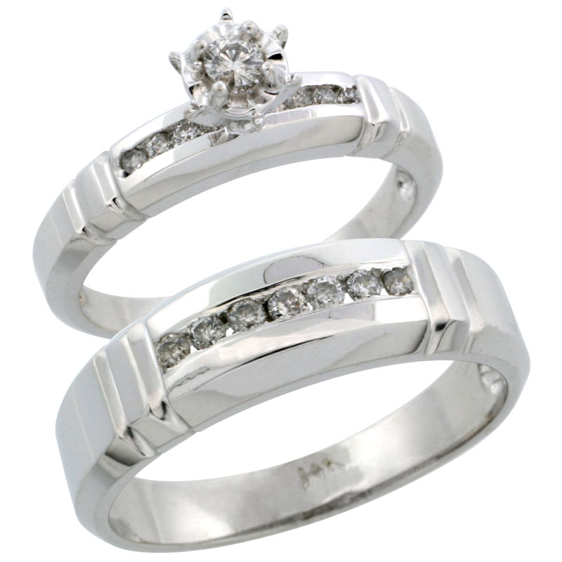 14k White Gold 2-Piece Diamond Ring Band Set w/ Rhodium Accent ( Engagement Ring & Man's Wedding Band ), w/ 0.30 Carat Brilliant Cut Diamonds, ( 4mm; 6.5mm ) wide