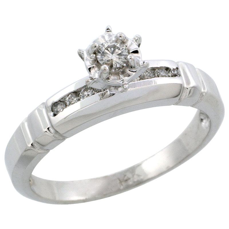 14k White Gold Diamond Engagement Ring w/ 0.16 Carat Brilliant Cut Diamonds, 5/32 in. (4mm) wide