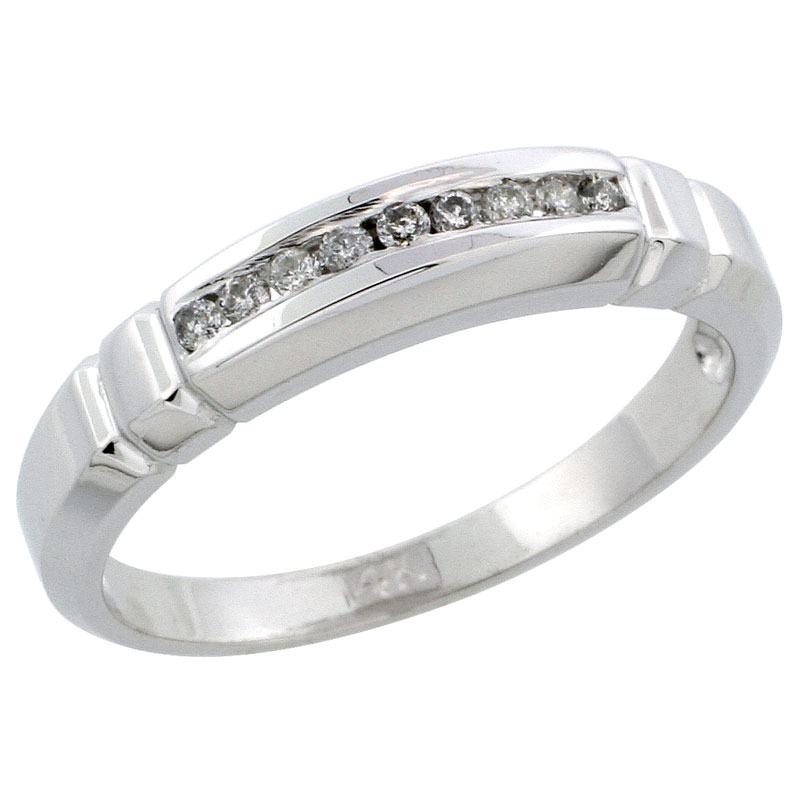 14k White Gold Ladies' Diamond Ring Band w/ 0.09 Carat Brilliant Cut Diamonds, 5/32 in. (4mm) wide